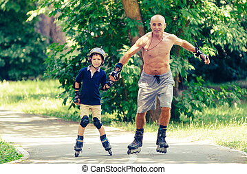 Skating with grandpa in the park