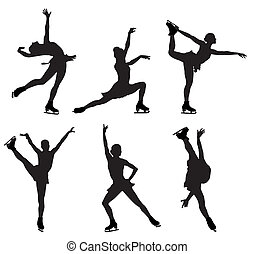 Abstract vector illustration of skating women silhouettes