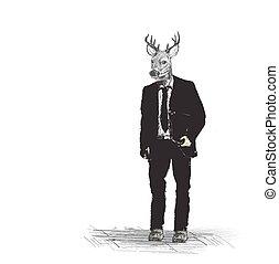 skech, ビジネス, backgroud, 鹿, 人, 情報通, 白