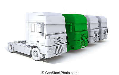 skecth, concept, semi-remorque, une, rendre, camion, vert, caravane, 3d