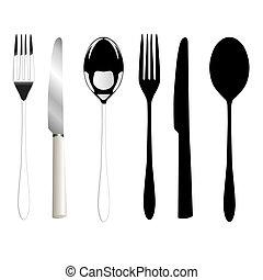 sked, gaffel, kniv
