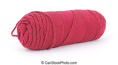 A single skein of old red acrylic yarn on a white background.