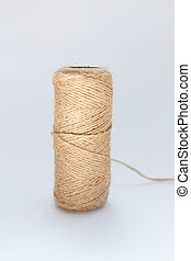 skein of thick thread on a white background