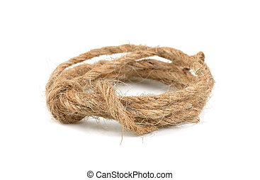 skein of twine on white background, natural rope isolated