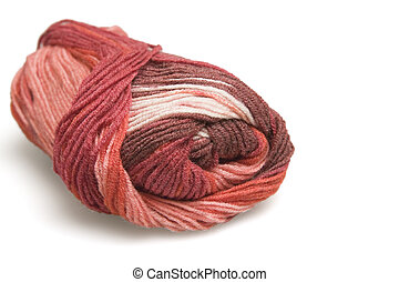 skein of wool in red on a white background