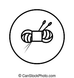 Skein of yarn and knitting needles. Icon. Editable Thin line. Vector illustration.