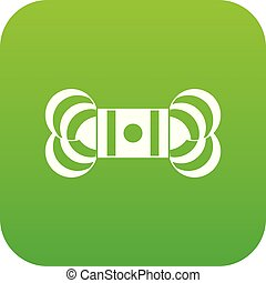 Skein of yarn icon digital green for any design isolated on...