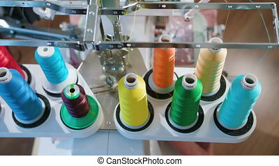 skein thread stand for embroidery machines during operation, the camera moves, frame from the top