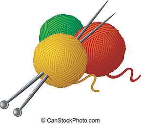 skeins, de, lana, y, tejido de punto, agujas