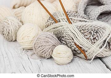 skeins, lana, agujas, tejido de punto, hilo