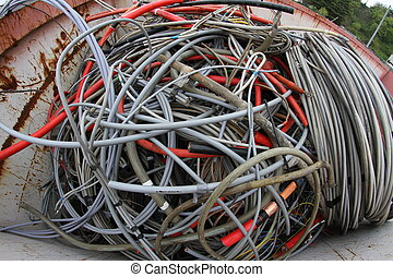 copper cable in a container of a landfill of recyclable waste