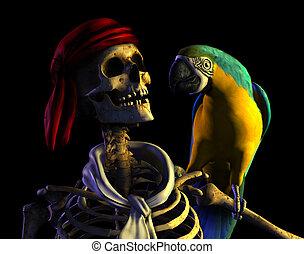 Skeleon Pirate Portrait - 3D render of a skeleton pirate...