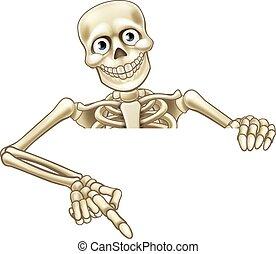 skelet, cartoon, pege, tegn