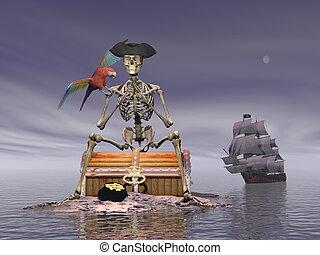 skelet, render, schat, -, zeerover, 3d