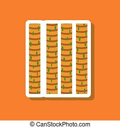 skeletal striated muscle paper sticker on stylish background