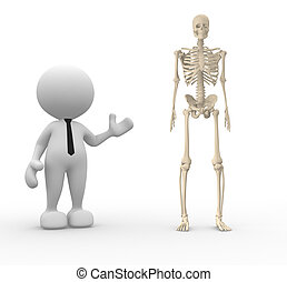 Skeleton - 3d people - man, person with a skeleton