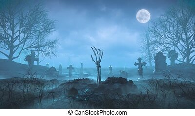 Skeleton arm crawls out of the ground at night against the background of the moon in the cemetery