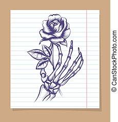 Skeleton arm sketch with rose