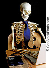 Skeleton at Work 8 - A skeleton sits at a desk working on a...