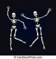 skeleton., ballo, illustrazione, isolato, due, vettore, black.