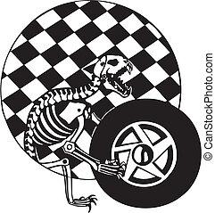 skeleton., bandeira, checkered, illustration., vetorial