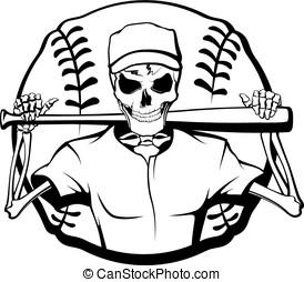 Skeleton Baseball Batter - Black and white vector...