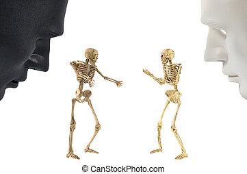 Skeleton bones standing action, human behavior