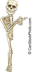 Skeleton Cartoon Pointing at Sign - A happy skeleton cartoon...
