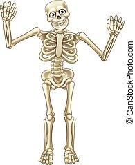 Skeleton Cartoon Waving Hands
