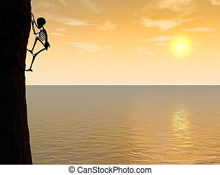 Skeleton climber silhouette hanging on rock