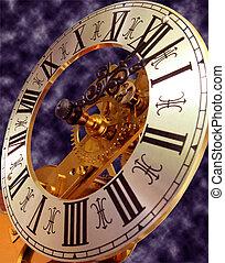 Skeleton clock face - close up view of antique skeleton...