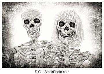 Skeleton Couple Portrait