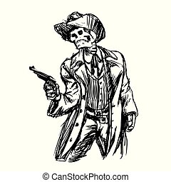 Skeleton cowboy with revolver