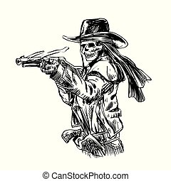 Skeleton cowboy with shotgun from wild west