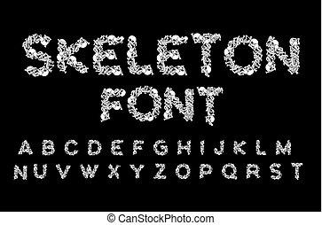Skeleton font. Letters anatomy. Bones ABC. Skull and spine....