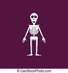 Skeleton for halloween in a flat style