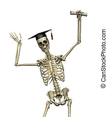 Skeleton Graduate - A smart skeleton has earned his degree -...