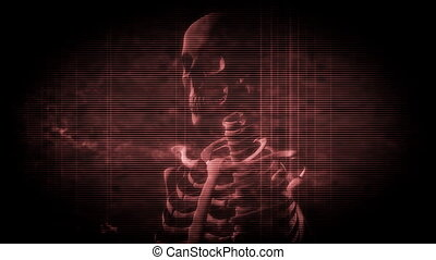 Skeleton Grunge in Dark Red Loop