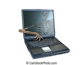 An image of a skeleton inside a computer trying to reach out of the screen and take over the computer, emblamatic of a computer virus or hacker attack.