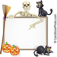 A Halloween sign with a classic skeleton character pointing down and witch's black cats, broomstick and Halloween carved orange pumpkins