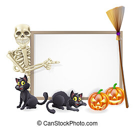 Skeleton Halloween Sign - Halloween sign or banner with...