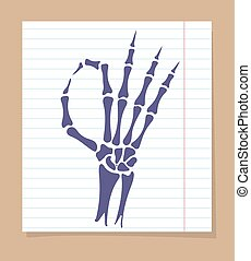 Skeleton hand OK sign - Skeleton hand sign. Vector OK sign...