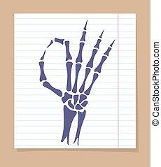 Skeleton hand OK sign - Skeleton hand sign. Vector OK sign...