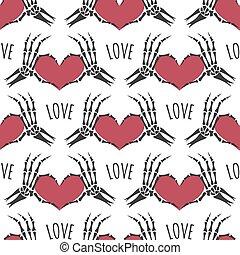 Skeleton hands heart seamless pattern