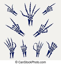 Skeleton hands signs on grey background