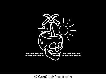 Skeleton head in the beach line art