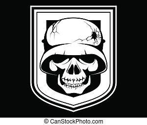 Skeleton in a helmet