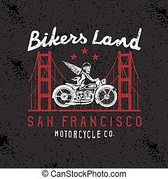 skeleton in helmet on bike and golden gate bridge vector design template