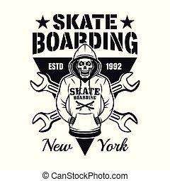 Skeleton in hoodie vector skateboarding emblem