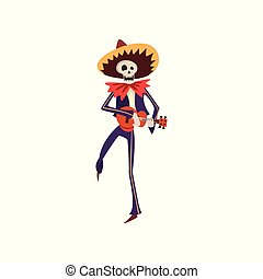Skeleton in Mexican national costume dancing with uculele in his hands, Dia de Muertos, Day of the Dead vector Illustration on a white background